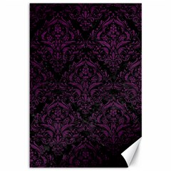 Damask1 Black Marble & Purple Leather (r) Canvas 12  X 18   by trendistuff