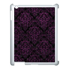 Damask1 Black Marble & Purple Leather (r) Apple Ipad 3/4 Case (white) by trendistuff
