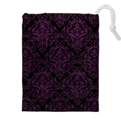 Damask1 Black Marble & Purple Leather (r) Drawstring Pouches (xxl) by trendistuff