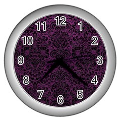 Damask2 Black Marble & Purple Leather Wall Clocks (silver)  by trendistuff