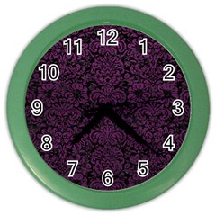 Damask2 Black Marble & Purple Leather (r) Color Wall Clocks by trendistuff