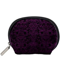 Damask2 Black Marble & Purple Leather (r) Accessory Pouches (small)  by trendistuff