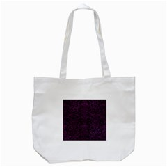 Damask2 Black Marble & Purple Leather (r) Tote Bag (white) by trendistuff