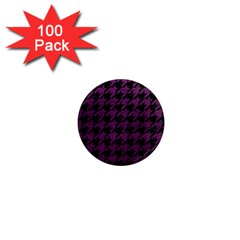 Houndstooth1 Black Marble & Purple Leather 1  Mini Magnets (100 Pack)  by trendistuff