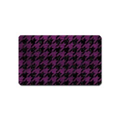 Houndstooth1 Black Marble & Purple Leather Magnet (name Card) by trendistuff