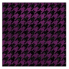 Houndstooth1 Black Marble & Purple Leather Large Satin Scarf (square) by trendistuff