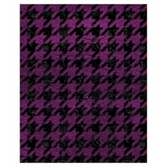 Houndstooth1 Black Marble & Purple Leather Drawstring Bag (small) by trendistuff