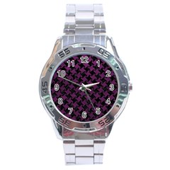 Houndstooth2 Black Marble & Purple Leather Stainless Steel Analogue Watch by trendistuff