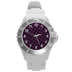 Houndstooth2 Black Marble & Purple Leather Round Plastic Sport Watch (l) by trendistuff