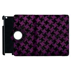 Houndstooth2 Black Marble & Purple Leather Apple Ipad 2 Flip 360 Case by trendistuff
