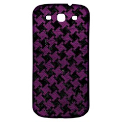 Houndstooth2 Black Marble & Purple Leather Samsung Galaxy S3 S Iii Classic Hardshell Back Case by trendistuff