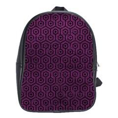 Hexagon1 Black Marble & Purple Leather School Bag (large) by trendistuff