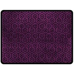 Hexagon1 Black Marble & Purple Leather Double Sided Fleece Blanket (large)  by trendistuff
