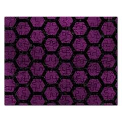 Hexagon2 Black Marble & Purple Leather Rectangular Jigsaw Puzzl by trendistuff