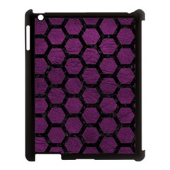 Hexagon2 Black Marble & Purple Leather Apple Ipad 3/4 Case (black) by trendistuff