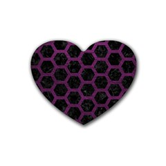 Hexagon2 Black Marble & Purple Leather (r) Heart Coaster (4 Pack)  by trendistuff