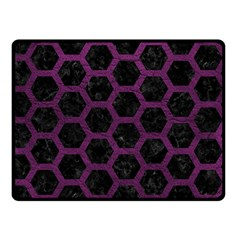 Hexagon2 Black Marble & Purple Leather (r) Double Sided Fleece Blanket (small)  by trendistuff
