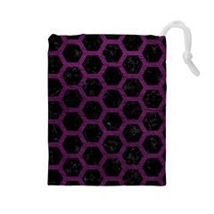 Hexagon2 Black Marble & Purple Leather (r) Drawstring Pouches (large)  by trendistuff