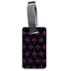 Royal1 Black Marble & Purple Leather Luggage Tags (one Side)  by trendistuff
