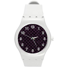 Scales1 Black Marble & Purple Leather (r) Round Plastic Sport Watch (m) by trendistuff