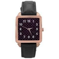 Scales1 Black Marble & Purple Leather (r) Rose Gold Leather Watch  by trendistuff