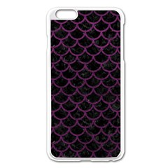 Scales1 Black Marble & Purple Leather (r) Apple Iphone 6 Plus/6s Plus Enamel White Case by trendistuff