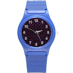 Scales2 Black Marble & Purple Leather (r) Round Plastic Sport Watch (s) by trendistuff
