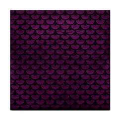 Scales3 Black Marble & Purple Leather Face Towel by trendistuff