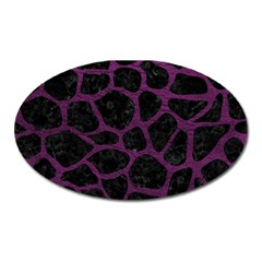 Skin1 Black Marble & Purple Leather Oval Magnet by trendistuff