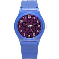 Skin1 Black Marble & Purple Leather (r) Round Plastic Sport Watch (s) by trendistuff