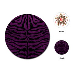 Skin2 Black Marble & Purple Leather Playing Cards (round)  by trendistuff
