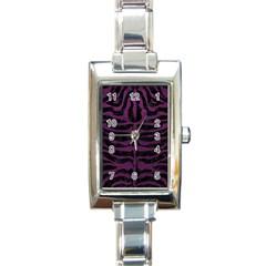 Skin2 Black Marble & Purple Leather (r) Rectangle Italian Charm Watch by trendistuff