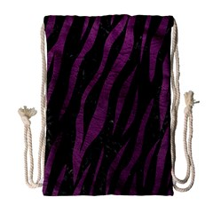 Skin3 Black Marble & Purple Leather (r) Drawstring Bag (large) by trendistuff