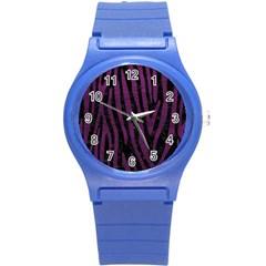 Skin4 Black Marble & Purple Leather Round Plastic Sport Watch (s) by trendistuff