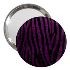 Skin4 Black Marble & Purple Leather 3  Handbag Mirrors by trendistuff