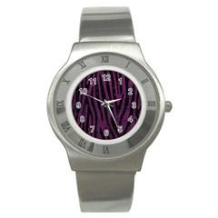 Skin4 Black Marble & Purple Leather (r) Stainless Steel Watch by trendistuff