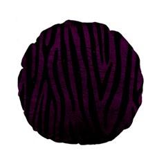 Skin4 Black Marble & Purple Leather (r) Standard 15  Premium Flano Round Cushions by trendistuff