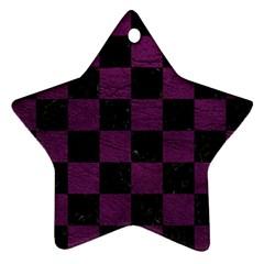 Square1 Black Marble & Purple Leather Ornament (star) by trendistuff