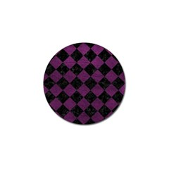 Square2 Black Marble & Purple Leather Golf Ball Marker by trendistuff