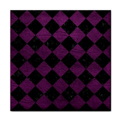 Square2 Black Marble & Purple Leather Face Towel by trendistuff