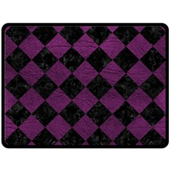 Square2 Black Marble & Purple Leather Fleece Blanket (large)  by trendistuff
