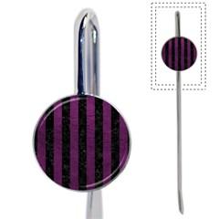 Stripes1 Black Marble & Purple Leather Book Mark by trendistuff