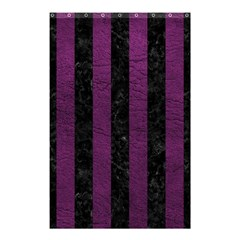 Stripes1 Black Marble & Purple Leather Shower Curtain 48  X 72  (small)  by trendistuff