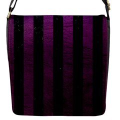 Stripes1 Black Marble & Purple Leather Flap Messenger Bag (s) by trendistuff