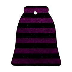 Stripes2 Black Marble & Purple Leather Bell Ornament (two Sides) by trendistuff
