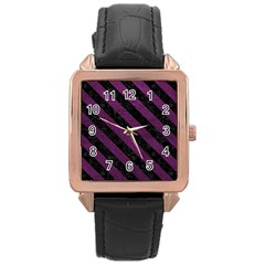 Stripes3 Black Marble & Purple Leather Rose Gold Leather Watch  by trendistuff