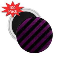 Stripes3 Black Marble & Purple Leather (r) 2 25  Magnets (100 Pack)  by trendistuff