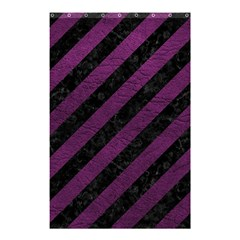 Stripes3 Black Marble & Purple Leather (r) Shower Curtain 48  X 72  (small)  by trendistuff