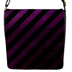 Stripes3 Black Marble & Purple Leather (r) Flap Messenger Bag (s) by trendistuff