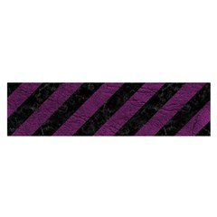 Stripes3 Black Marble & Purple Leather (r) Satin Scarf (oblong) by trendistuff